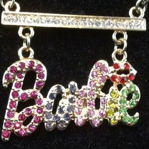 """BARBIE"" Rhinestone Necklace"